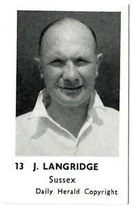 Daily Herald - 'Cricketers Series' (1954) - Card #13 - J. Langridge (Sussex)