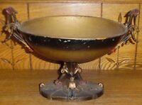 Antique Art Nouveau Metal Centerpiece Raised Two Handle Bowl