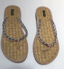 Women`s J. Crew Woven Straw  Thong T-strap Sandals Flip Flops Size 9