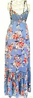 Dotti Multi Coloured Floral Ruffle Hem V Neck Sleeveless Sundress Maxi Dress 10