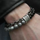Natural Map Stone Men's Women Beaded Stainless Steel Bracelets Jewelry Tiger Eye