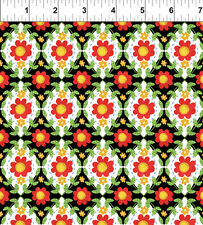 In the Beginning Strawberry Festival 4jh1 Flower Tiles Black BTY Cotton Fab