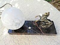 Ancienne lampe chevet-cheval art-déco-veilleuse boule blanche-verre moucheté