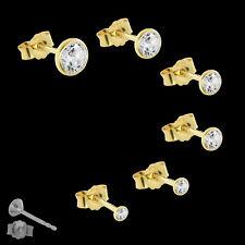 echte 585er gelb GOLD SINGLE Ohrstecker Kelch Zirkonia Ohrring EINZEL HERREN TOP