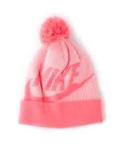 Womens Nike Sportswear Removable POM Knit Beanie Hat Pink Bobble Hat / New