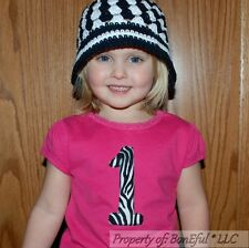 BonEful RTS NEW Baby Girl Hot PINK Top 18 Month 1 Number Zebra Applique Birthday