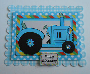 PACK 2 BLUE TRACTOR HAPPY BIRTHDAY EMBELLISHMENTS FOR CARDS OR CRAFTS