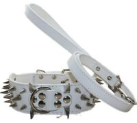 Studded Dog Collar Leather Spiked Dog Collar + Dog Leash set for Pitbull Terrier