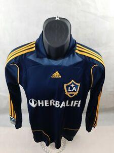 adidas LA Galaxy MLS Long Sleeve Pullover soccer jersey Beckham #23 Medium Blue