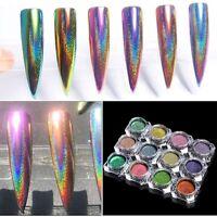 Peacock Holographic Chameleon Nail Glitter Powder Mirror Laser Chrome Pigment