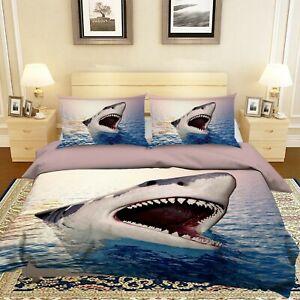 3D Ocean Shark O727 Animal Bed Pillowcases Quilt Duvet Cover Set Queen King Fay