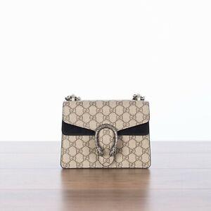 GUCCI 1750$ Dionysus GG Supreme Mini Bag In Black & Beige