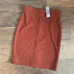 NWT Ann Taylor Burnt Orange Textured Pencil Skirt Womens 6 Petite Fall Career