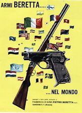 PUBBL.1965 FUCILE CACCIA ARMI PIETRO BERETTA GARDONE V.T. BANDIERE DEL MONDO