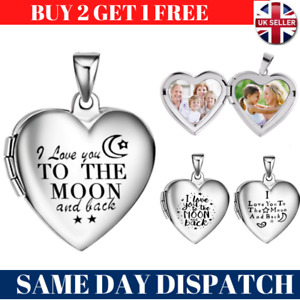 I Love You Heart Pendant Picture Photo Locket Silver Chain Necklace Womens Gift