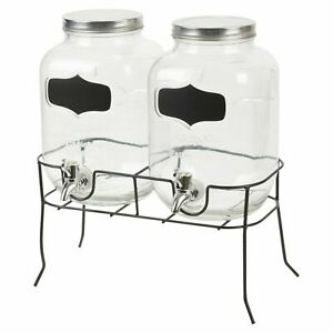 2 x 4L Dual Double Glass Party Bar Drinks Beverage Dispenser with Stand Large