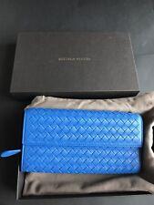 NWT Authentic Bottega Veneta BV Women's Envelop Wallet In Electric Blue Leather