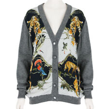 SWASH London Grey Wool Silk Menagerie Print Cardigan Knitwear S UK8