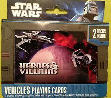 Brand New STAR WARS Heroes & Villains VEHICLES standard playing cards 2 decks