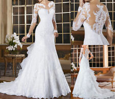New White Ivory Wedding Dresses Mermaid Long Sleeves Lace Bride Gown  Custom