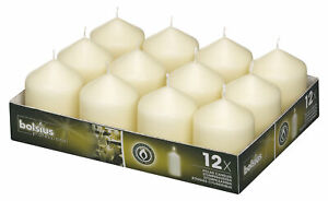 Bolsius Pack of 12 Ivory Pillar Church Candle 78mm x 58mm