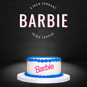 """PRE CUT 5"""" Barbie Pink Edible Icing Logo Cake Topper Decorations Birthday Party"""