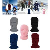 Ski en tricot intégral unisexe 3 trous cagoule chaude