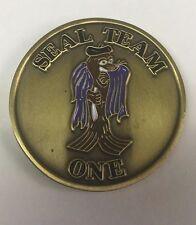 "USN US Navy SEAL Team 1 Naval Special Warfare 1.5"" Antique Brass Coin"