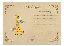 Girafe Note De Remerciement Cartes & Enveloppes Kraft-Pack de 20-vintage de la faune