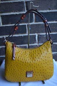 NWT $228 Dooney & Bourke Ostrich Kiley Hobo Shoulder Bag Saffron Yellow