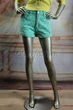 New MINK PINK Mint Green Metal Stud Stretchy Jeans Denim Shorts Small