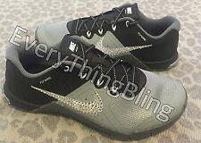 Custom BLING Swarovski Clear Elements NIKE Metcon 2-Gray/Black/Wht Women's Shoes