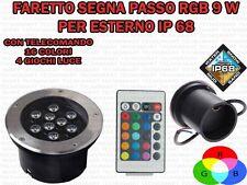 FARETTO RGB DA INCASSO LED 9W PER ESTERNO SEGNA PASSO CALPESTABILE IP68 GIARDINO