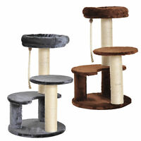 Cat Tree Scratcher Kitty Activity Play Center Post 2 Perch w/ Hanging Sisal Rope