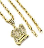 "Mens 14k Gold Plated Emoji 100 Cz Pendant Hip-Hop 24"" 4mm Rope Chain"