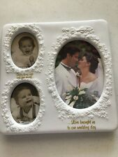 Porcelain Photo Frame holds baby photos and wedding photo by Russ