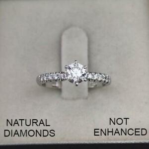 0.75 CTW ROUND D SI1 NATURAL CLARITY DIAMOND ENGAGEMENT RING 14K WHITE GOLD