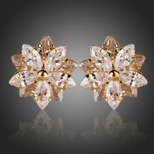New Gold Plated Clear White Sparkling Zircon Lotus Flower Stud Earrings Jewelry