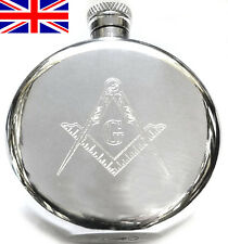 Hand Made Sheffield Pewter Masonic Hip Flask, 6oz Round with Free Engraving