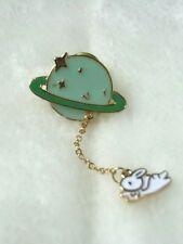 Pins pin pin's rétro original planète verte anneau lapin blanc kawaii harajuku