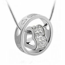 Crystal Rhinestone heart ring pendant necklace wife daughter girlfriend gift