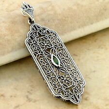 GENUINE EMERALD 925 STERLING SILVER ANTIQUE STYLE FILIGREE PENDANT,         #970