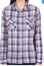 Cotton Blend Check Long Sleeve Button Down Shirt Tops & Blouses for Women