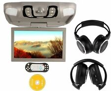 """Gray 15.6"""" Car Roof Mount Overhead Monitor DVD Player Games FM USB Headsets"""