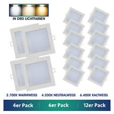 4x 6x 12x LED 230V Einbaustrahler Einbau-Leuchten ultra-flach 3W Set eckig Spots