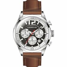 NEW Morphic 1502 Men's M15 Series Polished Steel Brown Leather Chronograph Watch