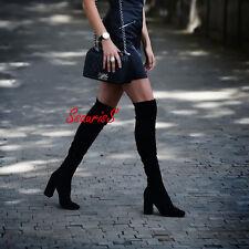 Blogger FAV! Zara Nero Elasticizzato Gamba sopra il ginocchio tacco alto stivali, UK 8 EUR 41