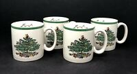 Set of 4 Spode Porcelain Ceramic Christmas Tree Holly Mugs Coffee Cups