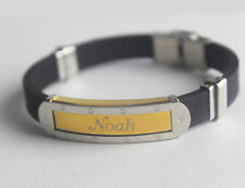 NOAH - Bracelet With Name - Mens Silicone & Gold Tone Engraved - Gifts For Him