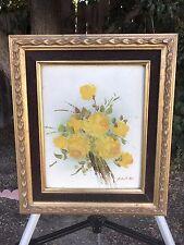 ROBERT COX Original Floral Oil Painting on Board 1970s Vintage Signed & Framed